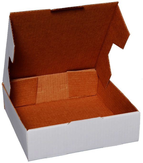 Corrugated cardboard carryout boxes.