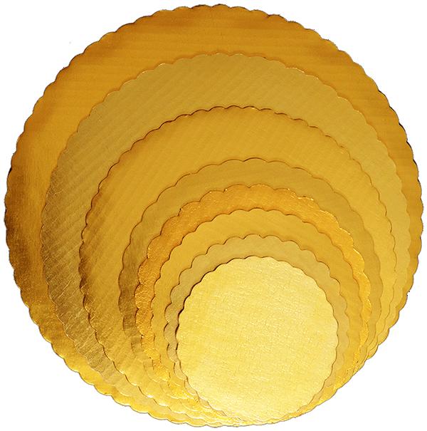 Gold cake circles.