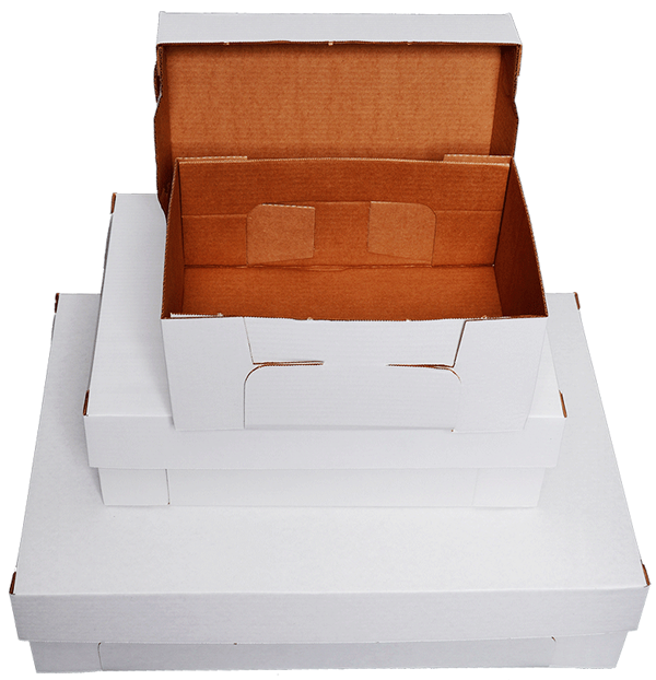 White cake trays with open top.
