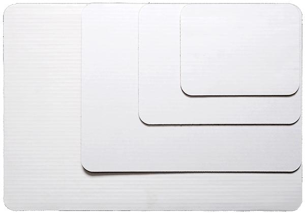 White coated cake boards.
