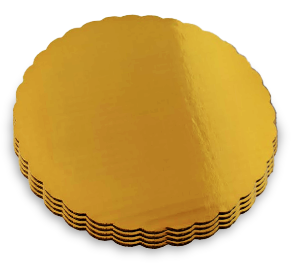 Gold MET-PET cake circles with scalloped edge and double wall B/C flute construction.