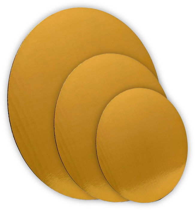 Gold MET-PET cake circles with smooth edge and single-wall C flute construction.